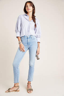 Mother The Dazzler Ankle Fray Ultra High-Rise Straight-Leg Jeans