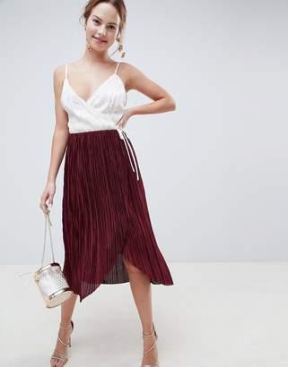 Asos DESIGN plisse pleated wrap midi skirt