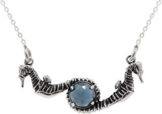 "Lee Renee Seahorse Blue Topaz Necklace "" Silver"