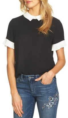Women's Cece Pleat Sleeve Collared Crepe Blouse $79 thestylecure.com