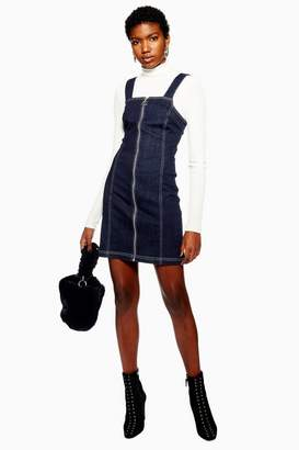 Topshop Denim Stretch Pinafore Dress