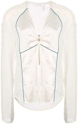 Chloé pintuck half zip blouse