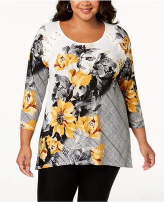 JM Collection Plus Size Mixed-Print Lace-Up Top, Created for Macy's
