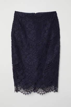 H&M Lace Pencil Skirt - Blue