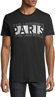 Karl Lagerfeld Paris Men's Reflective Stretched-Logo Crewneck Short-Sleeve Tee
