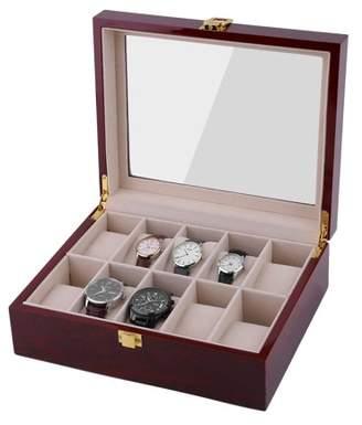 Cocasasa 10 Grids Wood Wrist Watch Display Case Jewelry Accessories Storage Holder Glass Window Box Organizer Brithday Gifts