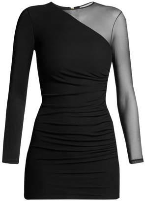 Balmain Sheer Sleeve Mini Dress - Womens - Black