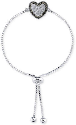 Unwritten Silver-Plated Marcasite and Crystal Heart Slider Bracelet