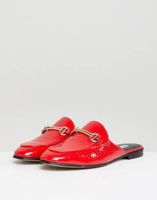 Dune London Gene Red Leather Croc Loafer Shoes With Snaffle Trim