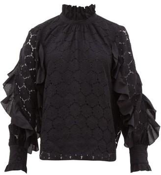 Apiece Apart Rio Ruffle Trimmed Cotton Blend Lace Top - Womens - Black