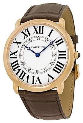 Cartier Men's 42mm Brown Leather Band Case Mechanical Analog Watch W6801004