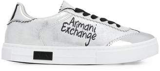 Armani Exchange flat metallic trainers