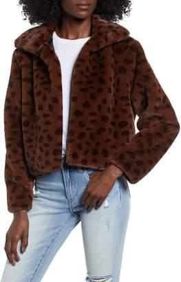 Madison & Berkeley Brittney Leopard Print Faux Fur Jacket