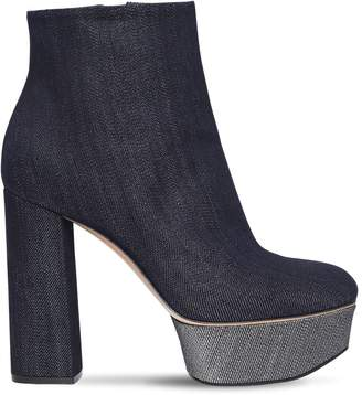 Casadei 120MM GLITTER EFFECT DENIM ANKLE BOOTS