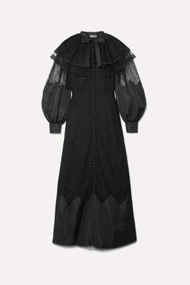 Fendi Ruffled Shell And Tulle-trimmed Lace Gown - Black