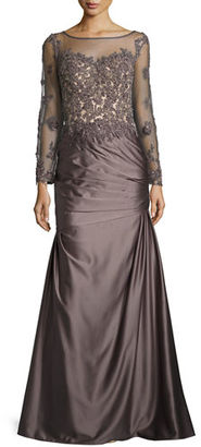 La Femme Long-Sleeve Embellished Taffeta Mermaid Gown, Orchid $638 thestylecure.com