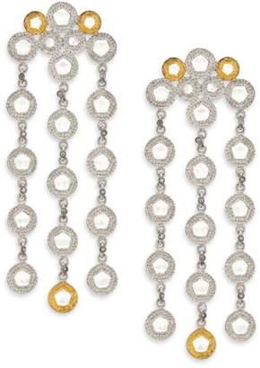 Coomi Silver Opera Diamond, Crystal, 20K Yellow Gold & Sterling Silver Chandelier Earrings