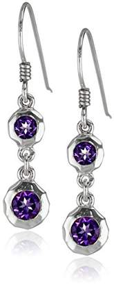 Zina Sterling Sahara Collection Ripple Textured with Amethyst Drop Earrings
