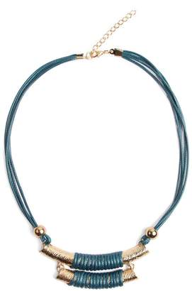 Riah Fashion Double Bar Cord Necklace
