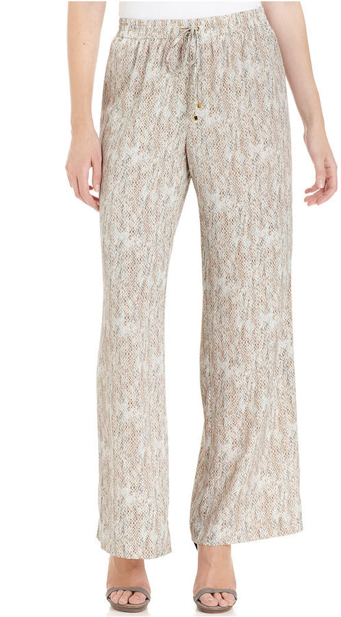 Calvin Klein Pants, Wide-Leg Printed Drawstring