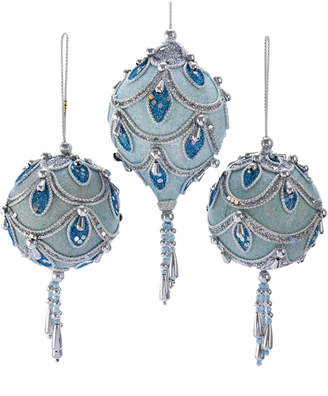 Kurt Adler 3.5-7.5In Blue & Silver Hanging Ornaments