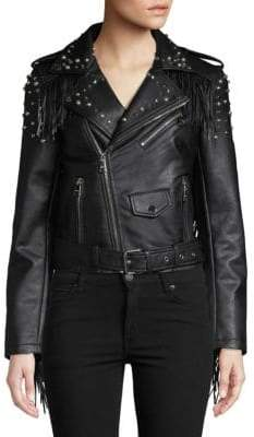 Vigoss Studded Fringe Faux-Leather Jacket