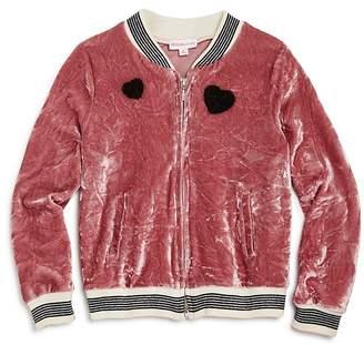 Design History Girls' Crushed Velvet Bomber Jacket - Little Kid