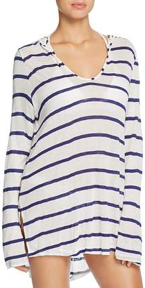 Splendid Stitch Stripe Hooded Tunic Swim Cover-Up