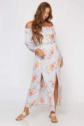 Peach Love Gray Floral Off The Shoulder Maxi