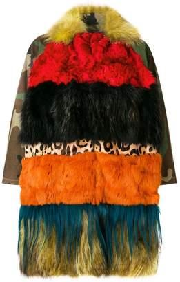 Caban Romantic multi-print tiered coat