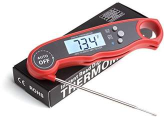 Digital Meat Thermometer Waterproof Fast Instant Read Foldable Kitchen Tool for BBQ accessories Best Food and Kitchen Thermometer Backlit with Calibration Red BBQ