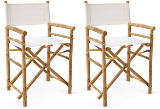One Kings Lane Set of 2 Director's Bamboo Chairs - White