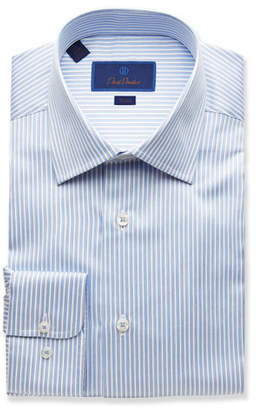 David Donahue Men's Trim-Fit Striped Dress Shirt, Light Blue