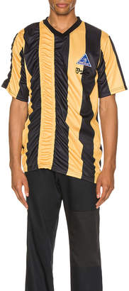 Martine Rose Ruched Football Top in Yellow & Black | FWRD