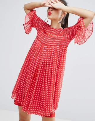 ASOS Gingham Smock Dress with Shirring Detail $67 thestylecure.com