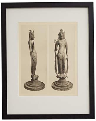 Rejuvenation Framed Photogravure of Chinese Buddha Statue