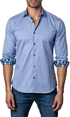 Jared Lang Men's Semi-Fitted Daisy-Cuff Sport Shirt