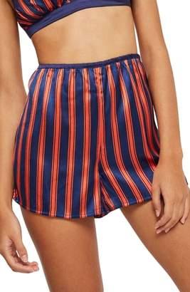 Topshop Striped Satin Pajama Shorts