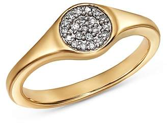 Adina 14K Yellow Gold Pavé Diamond Disc Small Signet Ring