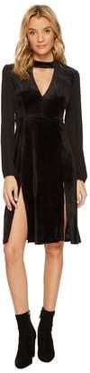 BB Dakota Sherwood Deep-V Velvet Dress with Crepe de Chine Contrast Women's Dress