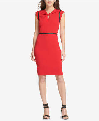 DKNY Faux-Leather-Trim Sheath Dress