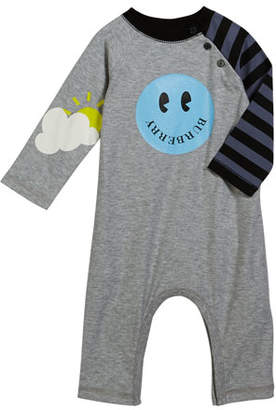 Burberry Smiley Coverall w/ Stripe Sleeve, Size 3-18 Months