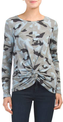 Washed Camo Print Top