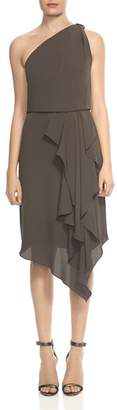 Halston Draped One-Shoulder Dress