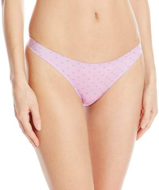 Maidenform Women's Comfort Devotion Thong Panty, Plum Dot/Plum Grey