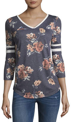 Arizona 3/4 Sleeve V Neck Floral T-Shirt-Womens Juniors