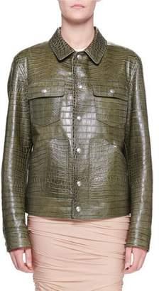 Tom Ford Crocodile-Embossed Leather Utility Jacket