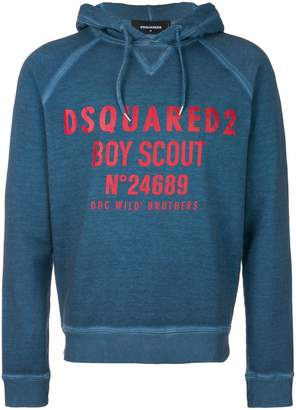 DSQUARED2 printed logo hoodie
