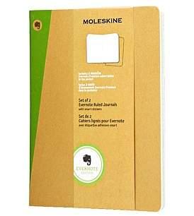 Moleskine Extra Large Ruled Evernote Set Of 2 In Kraft
