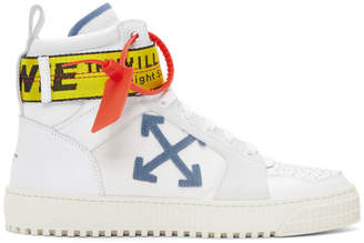 Off-White White and Blue Industrial High-Top Sneakers